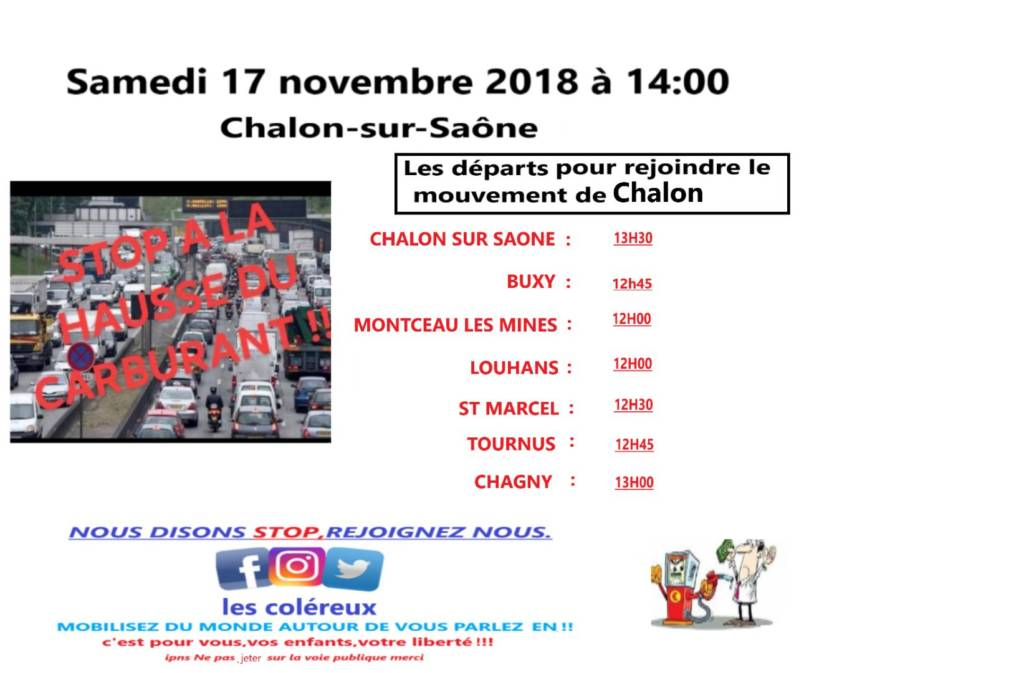 Carte Blocage 17 Novembre Bourgogne.Appel Du 17 Novembre Rendez Vous A Chalon Sur Saone L
